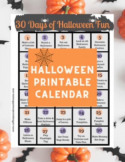 Printable Halloween Activities Calendar