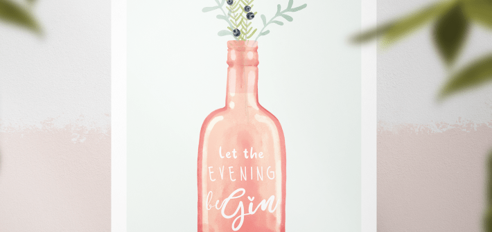 Gin Art Print - Pink Illustrated Gin Bottlle with juniper branches