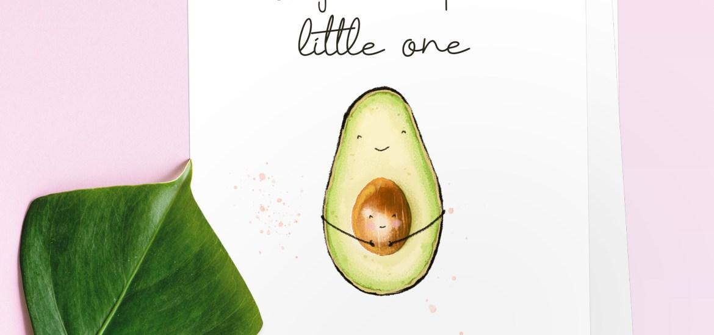 New Baby Card - Avocado Illustration