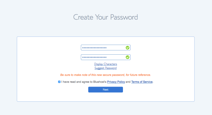 choose your password