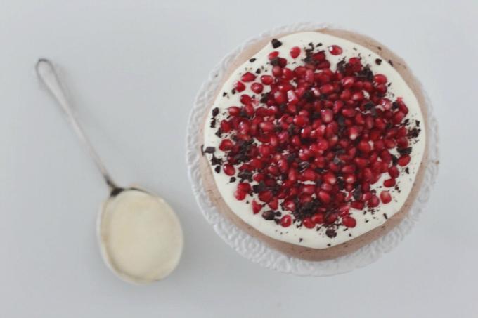 Pomegranate chocolate pavlova
