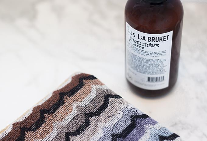 Missoni Home towel, Lilla Bruket soap, Carrara marble, Coffee Table Diary blog