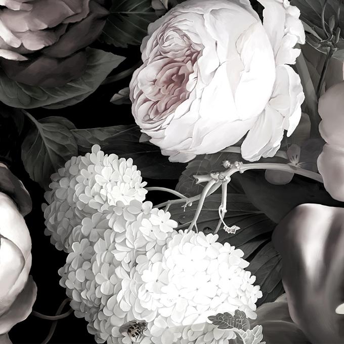 Ellie Cashman Dark Floral II Black desaturated wallpaper