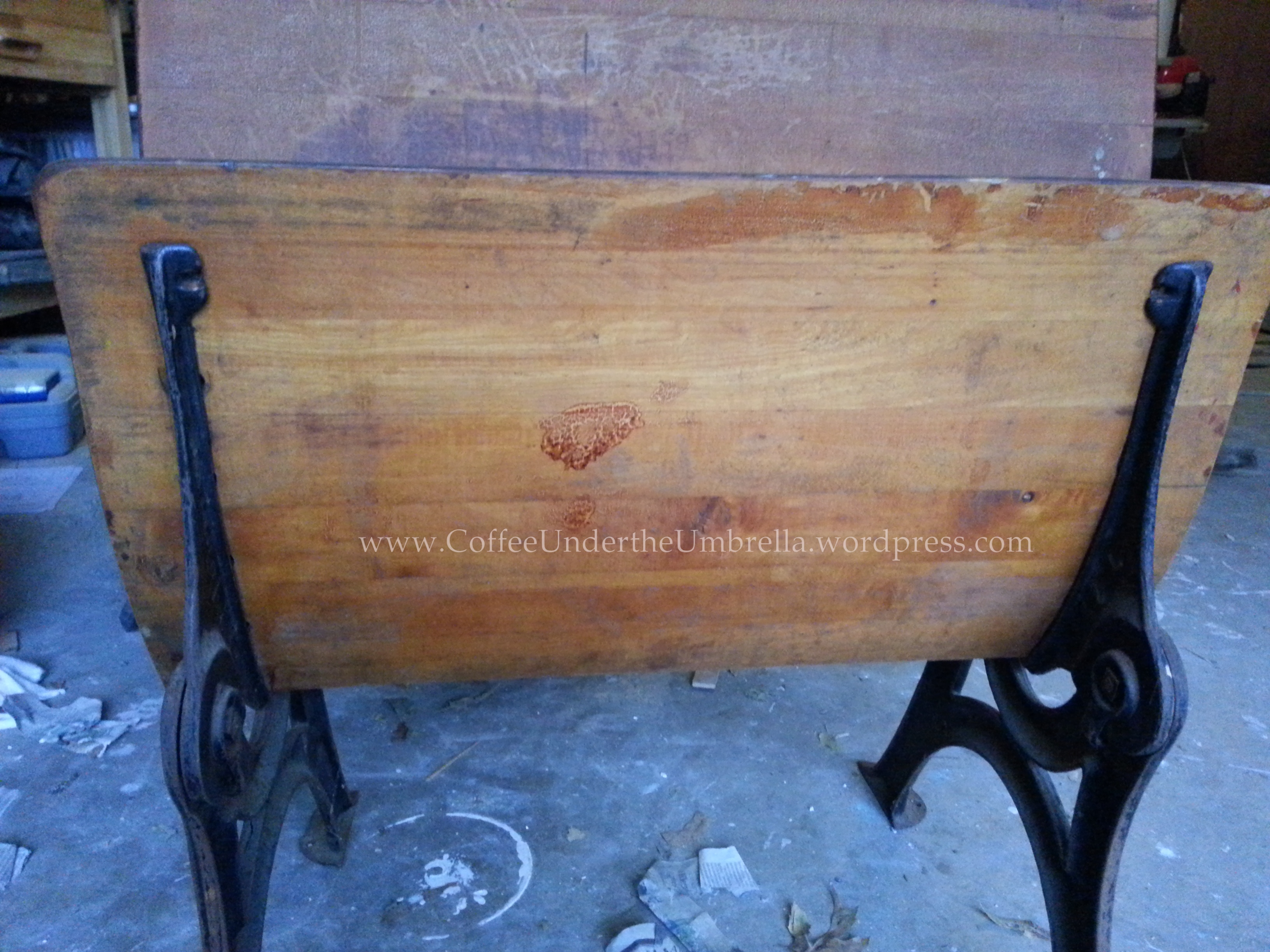 Refinishing An Antique Schooldesk Coffee Under The Umbrella