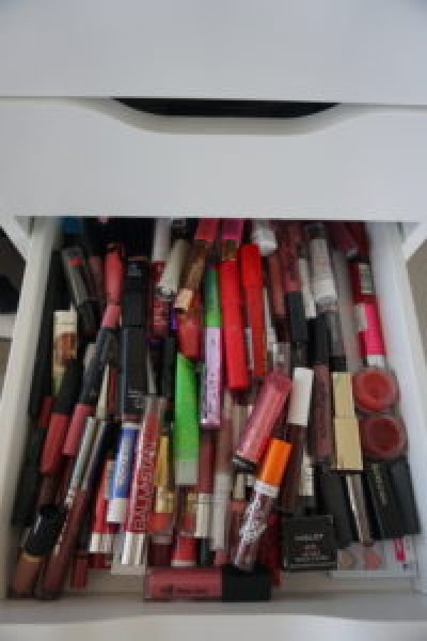 ikea alex drawers full of lip gloss and lip stick