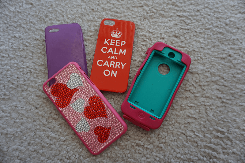 red, purple, heart pattern, pink, and teal iphone case