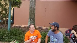 Interviewing Tom after our autograph session