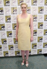 SAN DIEGO, CA - JULY 10: Actress Gwendoline Christie at the Hall H Panel for `Star Wars: The Force Awakens` during Comic-Con International 2015 at the San Diego Convention Center on July 10, 2015 in San Diego, California. (Photo by Jesse Grant/Getty Images for Disney) *** Local Caption *** Gwendoline Christie