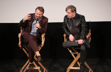 """AUSTIN, TX - MARCH 12: Writer/Director Rian Johnson and Mark Hamill attend the Star Wars: The Last Jedi """"The Director and The Jedi"""" SXSW Documentary Premiere at Paramount Theatre on March 12, 2018 in Austin, Texas. (Photo by Jesse Grant/Getty Images for Disney) *** Local Caption *** Rian Johnson;Mark Hamill"""