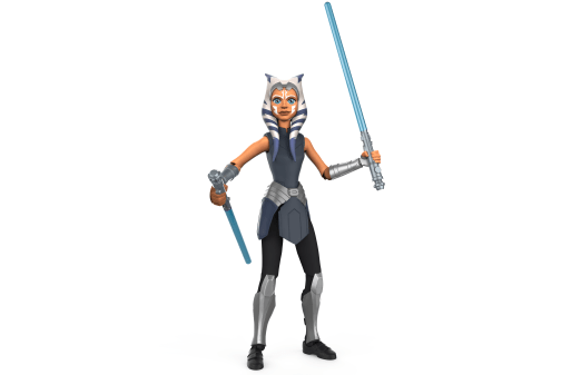 STAR WARS GALAXY OF ADVENTURES 5-INCH AHSOKA TANO Figure (HASBRO/Ages 4 years & up/Approx. Retail Price: $9.99/Available: Spring 2020) Imagine AHSOKA TANO wielding her two blue Lightsabers with Double Lightsaber Swipe action! Boys and girls can activate the STAR WARS GALAXY OF ADVENTURES 5-INCH AHSOKA TANO figure's Double Lightsaber Swipe feature by twisting the action figure's torso and releasing it. This 5-inch-scale action figure features multiple points of articulation, with design and detail inspired by STAR WARS movies and entertainment. Includes figure and 2 accessories. Available at most major retailers.