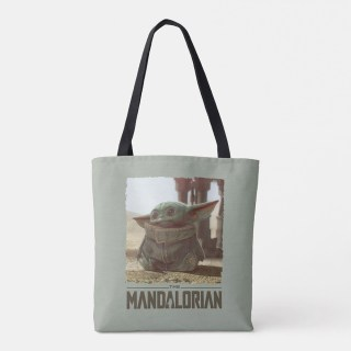 Star Wars The Mandalorian The Child Scene Tote Bag You can get yours online now from Amazon, Design By Humans, Hot Topic, shopDisney, Walmart, Zazzle, and 80's Tees!