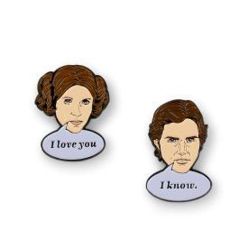 Star Wars Han Solo aand Princess Leia I love You I know Pin Set