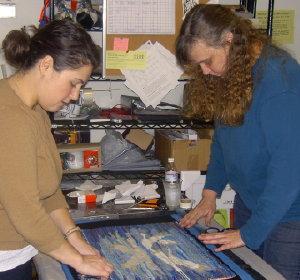 Melinda and Tamara framing for the show.