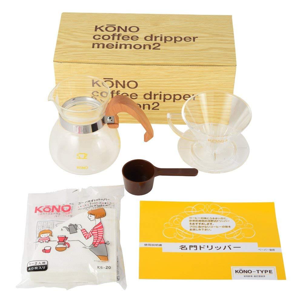 KONO式 珈琲サイフォン コーノ式 MDN-20WD 名門 ドリッパー セット ウッドハンドル 2人用 マイクロファイバークロス付き