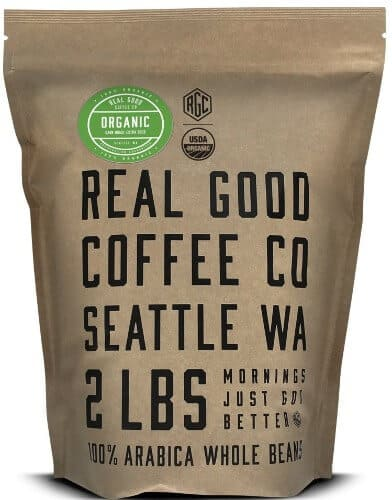 Real Good Coffee Co USDA Certified Organic Dark Roast Whole Bean Coffee