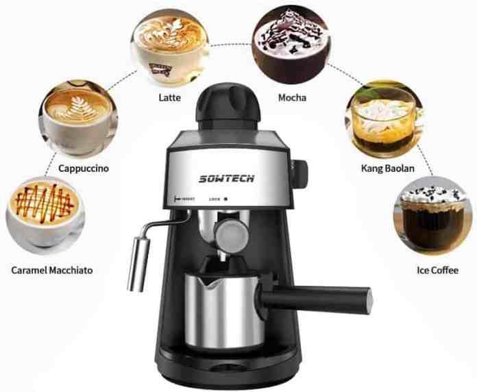 SOWTECH Steam Espresso Machine 3.5 Bar 4 Cup Espresso Maker