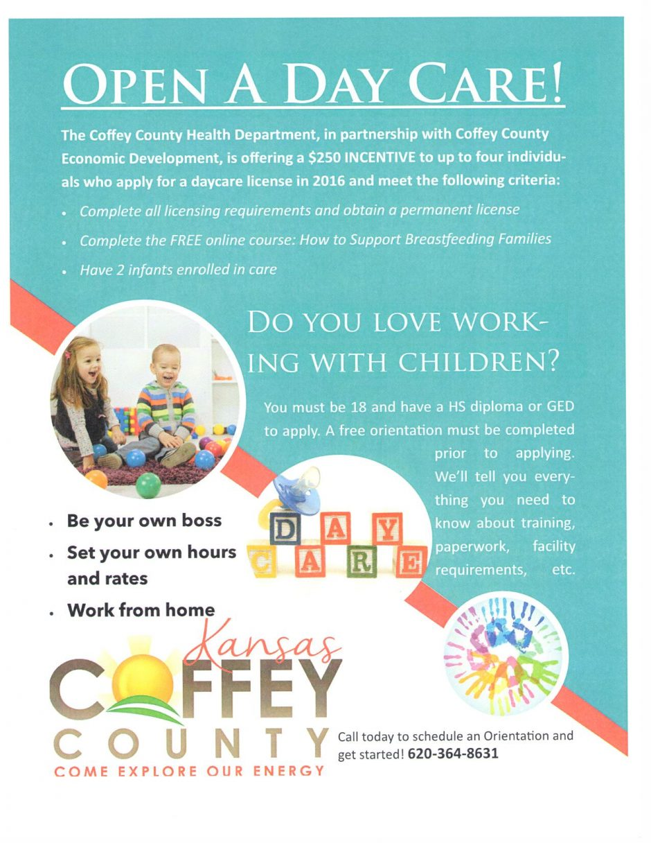Open A Day Care in Coffey County!