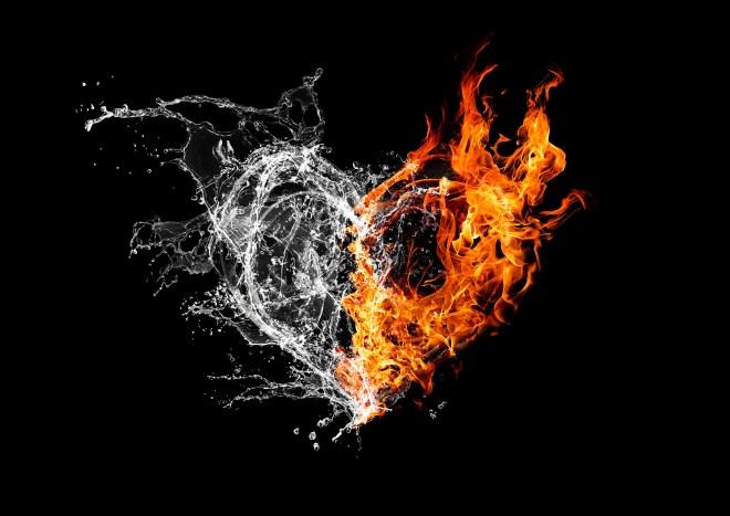 火と水が結合したハート