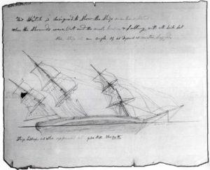 El 'Essex' siendo golpeado por una ballena el 20 de noviembre-de 1820. Dibujado por Thomas Nickerson