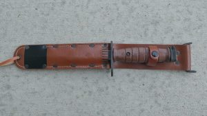 Brown M7 bayonet in reproduction M6 scabbard