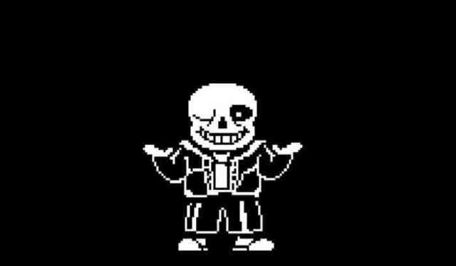A screenshot of Sans from Undertale.