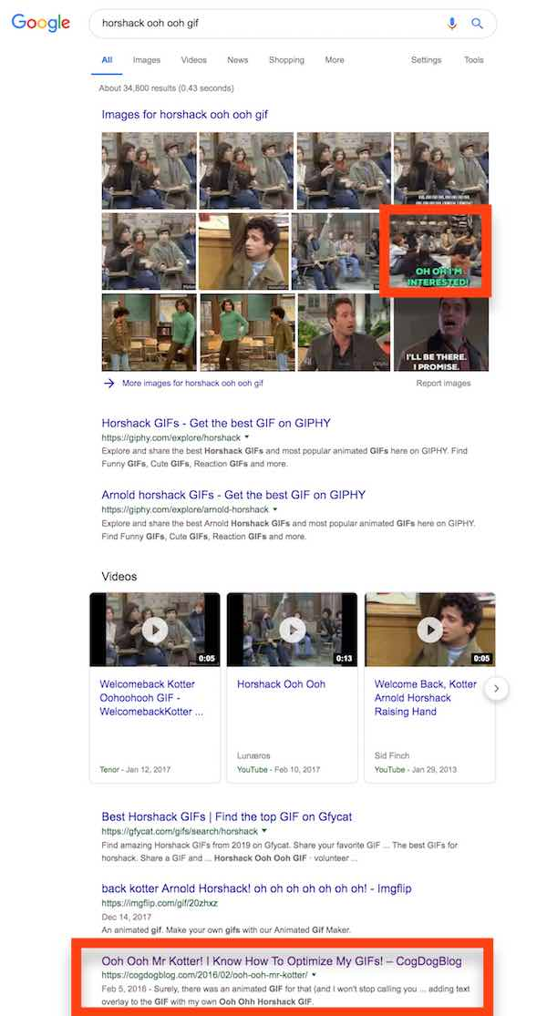Google search results showing my gif in the 8th position of results