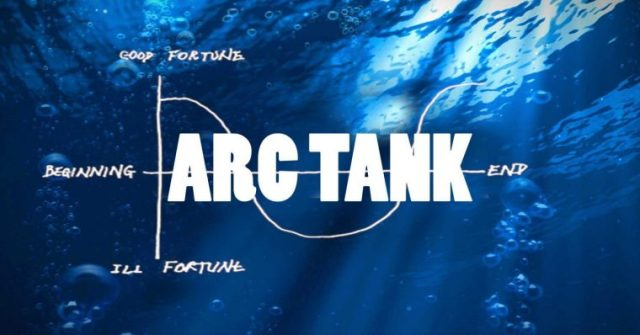 Words ARC TANK superimposed on a shape of Kurt Vonneguts shape of story curve, all atop a shimmering underwater view of a place sharks might swim