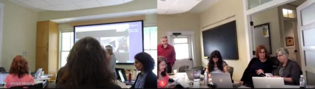 Two images of faculty sharing their cards and talking