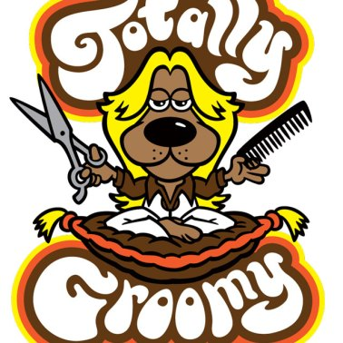 Totally Groomy retro 1970s dog hairstylist cartoon logo.
