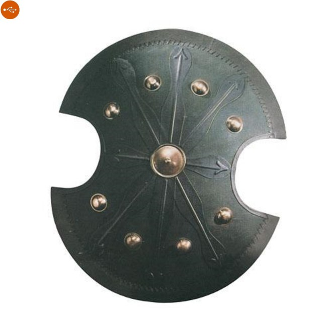 - Round shields or Greek in use in the eighth century BC From the characteristic oval shape with lateral notches.