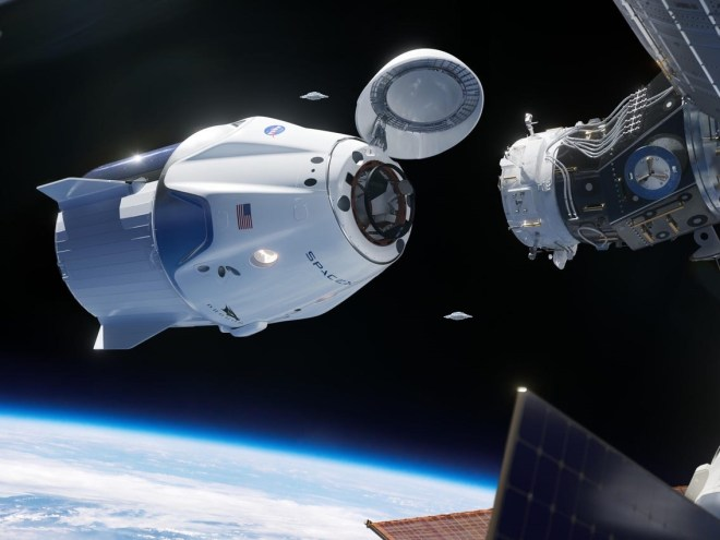SpaceX, numerous UFOs appear during the docking at the ISS.