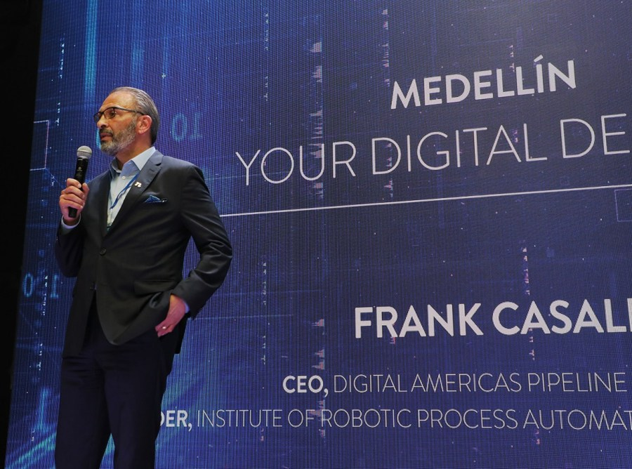 Frank Casale, founder of IRPA AI, speaks during the recent Digital Americas Pipeline Initiative (DAPI) in Medellín, Colombia. (Photo credit: Loren Moss)