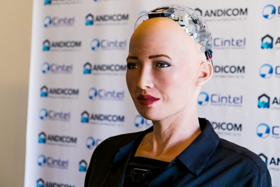 Sophia speaks during a media event at Andicom 2018 in Cartagena, Colombia. (Photo credit: Jared Wade)