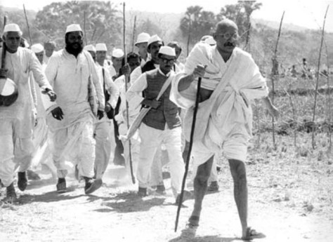Gandhi walks to the sea.