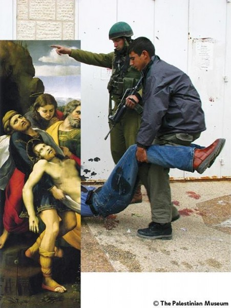 "Artwork: The Deposition (c. 1507) by Raphaello Sanzio da Urbino. ""In that day there will be great mourning in Jerusalem,"" Zechariah 12:11. Photo: Israeli soldiers kill a Palestinian and detain others in downtown Ramallah. 31 March, 2002, by Alexandra Boulat."