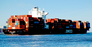 A Zim vessel laden with cargo.