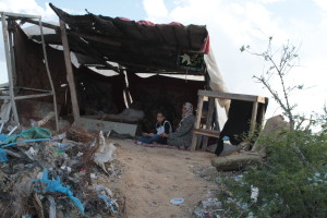 Some families in Gaza are forced to find shelter amid metal scraps. Photo by Bob Haynes