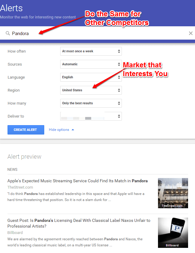 Google Alerts for Competitors