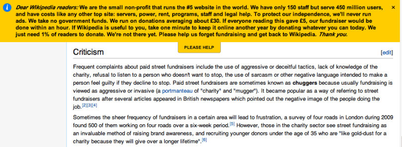 Banner on Wikipedia asking users to donate to the website.