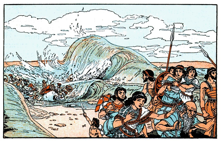 Illustration of Israel crossing the Red Sea