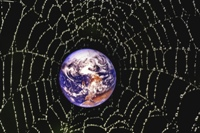 Earth trapped in a spider's web, illustrating humanity's tangled web of lies.