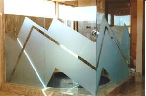 Glass Wall Shower Panels Zig Zag Sandblast