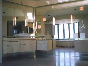 Vanity-Mirrors-and-Pendant-Lights-Stand-Off-Glass-Vanity-Tops