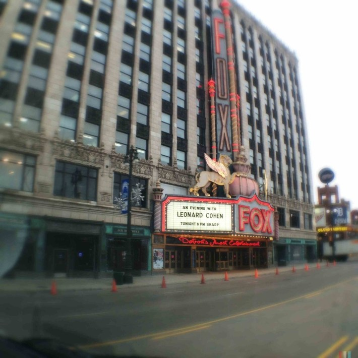 """A conveniently pre-labeled """"Signs Of Leonard Cohen"""" shot of the Fox marquee (Thanks, Joey)"""