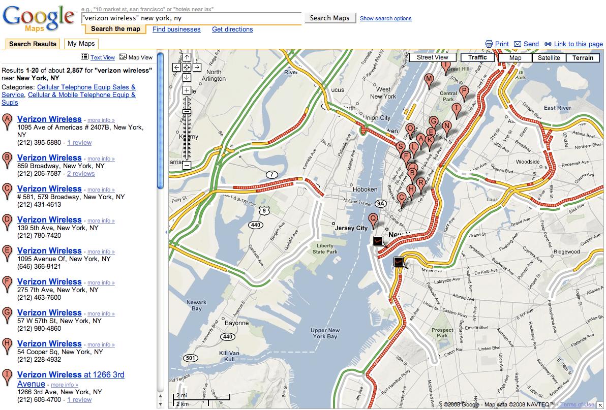 Google Verizon NY Traffic View
