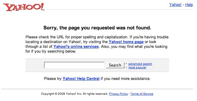 Yahoo Marketing Console 404 Not Found
