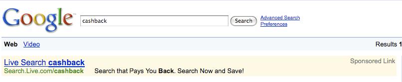 Google Search Cashback