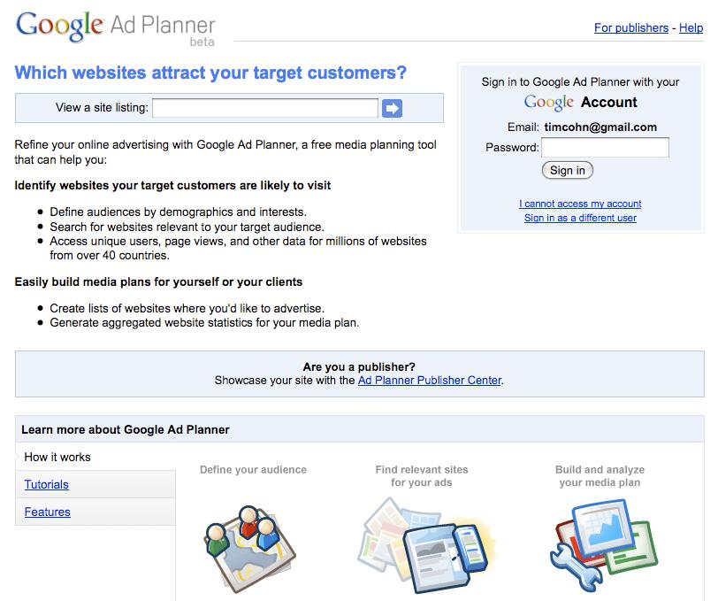 Google Ad Planner Beta