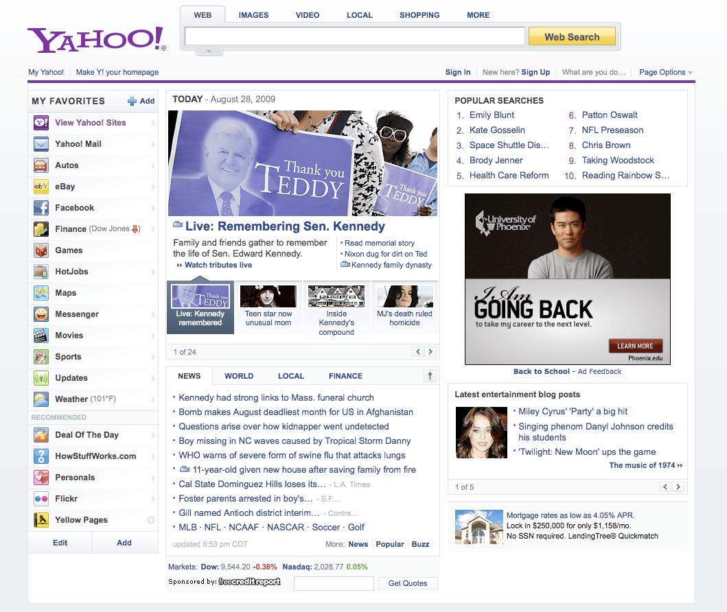New Yahoo Homepage