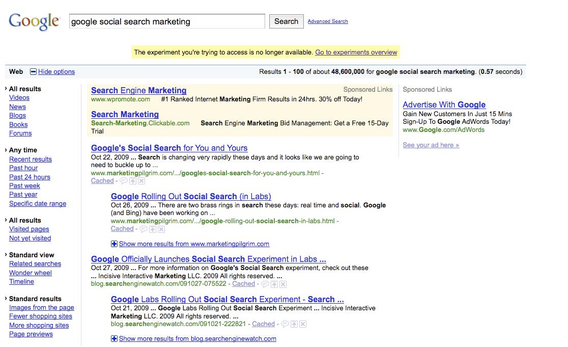 Google Social Search Marketing
